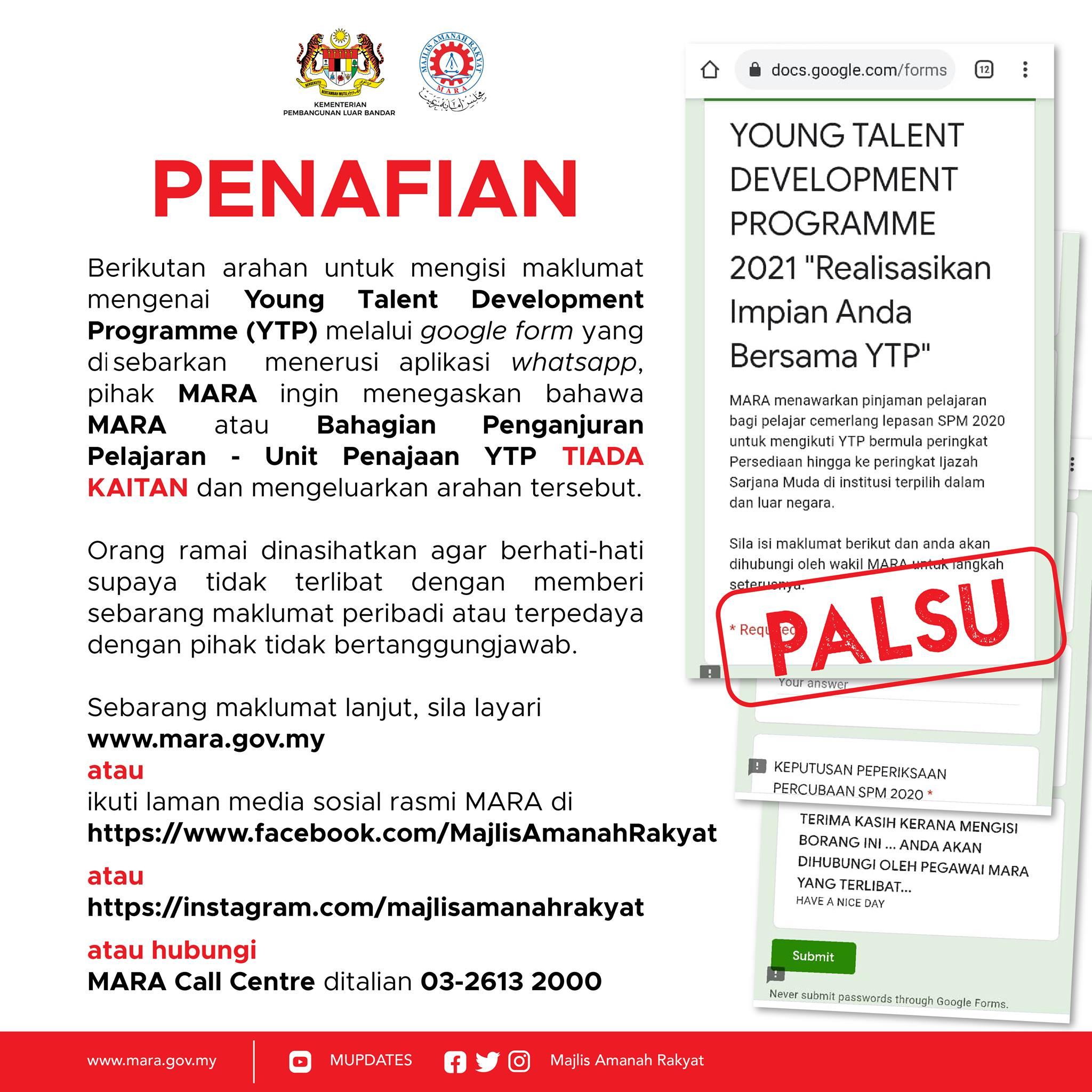 Arahan untuk mengisi maklumat mengenai Young Talent Development Programme (YTP) melalui google form